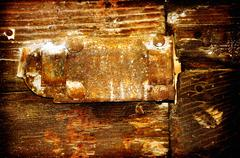old rusty bolt on worn door - stock illustration