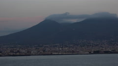 Naples Italy Mount Vesuvius from Mediterranean Sea 4K 087 Stock Footage