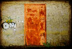 Rusted metallic door and scratched wall Stock Illustration
