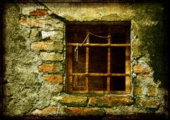 Mossy stone wall with little old window - stock illustration