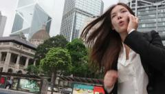 Stress - business woman running talking smartphone stressed  in a hurry - stock footage