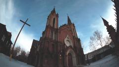 The catholic cathedral and organ hall in krasnoyarsk Stock Footage