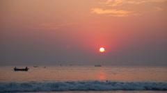 Sunset on the beach of the Arabian Sea Goa India. Time lapse Stock Footage