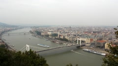 Beautiful panorama of Budapest with the Danube, Hungary. (RAW) Stock Footage
