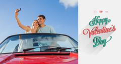 Stock Illustration of Composite image of cheerful couple standing in red cabriolet taking picture