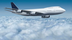 Aircraft Boeing 747 flying over the clouds cinema graph Stock Footage