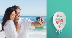 Composite image of happy couple taking a photo Stock Illustration