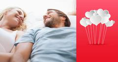 Composite image of cute couple lying on a bed Stock Illustration