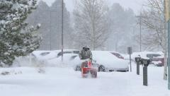 Snowblower Blizzard Dolly Stock Footage