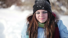 Winter girl grimaces - stock footage