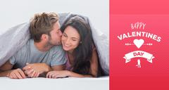 Stock Illustration of Composite image of attractive man kissing his wife