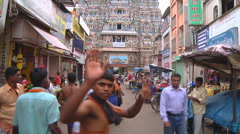 Stock Video Footage of West Tower at Meenakshi Amman Temple in Madurai, Tamil Nadu, India.