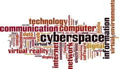 cyberspace word cloud - stock illustration
