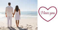 Composite image of attractive couple holding hands and watching the waves - stock illustration