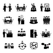 Meeting Icons Set - stock illustration