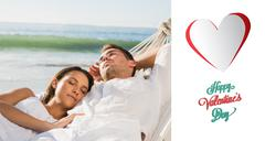 Composite image of peaceful couple napping in a hammock Stock Illustration
