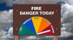 Fire Danger Sign with Time Lapse Clouds Stock Footage