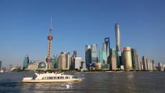 Cruise ship sailing on Huanpu river, seen from the Bund of Shanghai Stock Footage