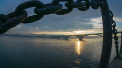 Bridge over the yenisey river, krasnoyarsk, timelapse Stock Footage