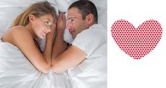 Composite image of cute couple lying and looking at each other in bed - stock illustration