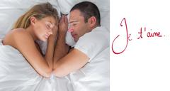 Composite image of cute couple lying asleep in bed - stock illustration