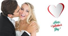 Stock Illustration of Composite image of handsome bridegroom kissing his wife on her cheek