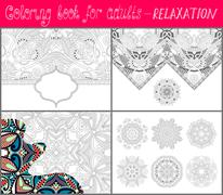 Coloring book page for adults - flower paisley design Stock Illustration