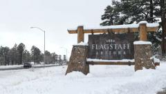 Flagstaff Sign Zoom Out Stock Footage