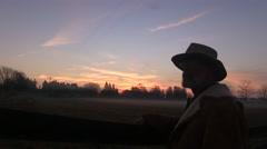 Old rancher dreams of his past - stock footage