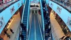 Escalator in a shopping center Stock Footage