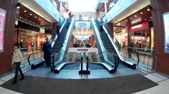 Large escalator in a shopping center Stock Footage