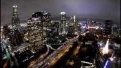 Aerial Video (moving) Timelapse of Downtown Los Angeles at Night - stock footage