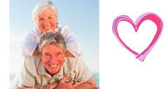 Stock Illustration of Composite image of senior couple lying down on the beach