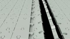 Rotating puzzle pieces in light grey - stock footage
