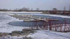 Empty Moorings on a cold winter day. - stock footage