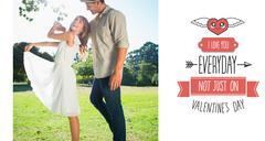 Stock Illustration of Composite image of cute couple dancing in the park and laughing
