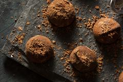 fancy dark chocolate truffles - stock photo