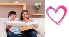 Stock Illustration of Composite image of couple on the couch opening parcel