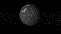 Dead planet with asteroid ring 01 Stock Footage