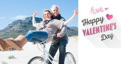 Stock Illustration of Composite image of carefree couple going on a bike ride on the beach