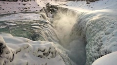 Gullfoss waterfall on river Hvita Stock Footage