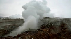 Gunnuhver mud pools and steam vents - stock footage