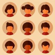 cartoon avatars - stock illustration