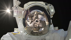 0202 Astronaut Spacewalk Taking a Picture of Himself Selfie, HD  - stock footage
