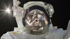 0202 Astronaut Spacewalk Taking a Picture of Himself Selfie, 4K  Stock Footage