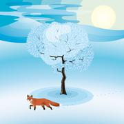 Stock Illustration of winter landscape with frozen tree and red fox hanging around