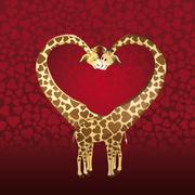 Big heart formed by a giraffe's couple, designed for a valentines day card. Stock Illustration