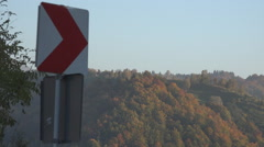Traffic sign mountain road dangerous curve attention roadsigns traffic street  Stock Footage