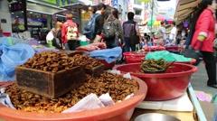 Korean Food: Beondegi (Bugs) Displayed in Street Market - stock footage