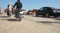 A busy street at Pushkar Camel Fair Stock Footage